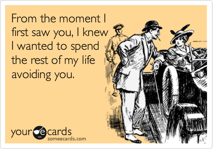 someecards.com - From the moment I first saw you, I knew I wanted to spend the rest of my life avoiding you.