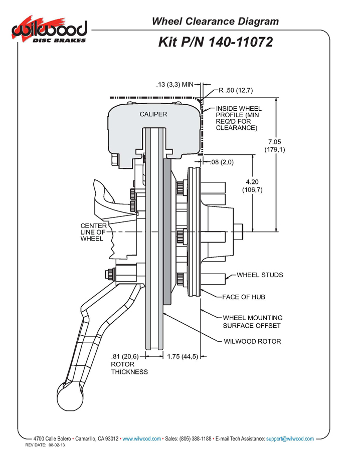 Wilwood 140-11072-R FDLI 12.19 Front Disc Brake Kit, 65-70