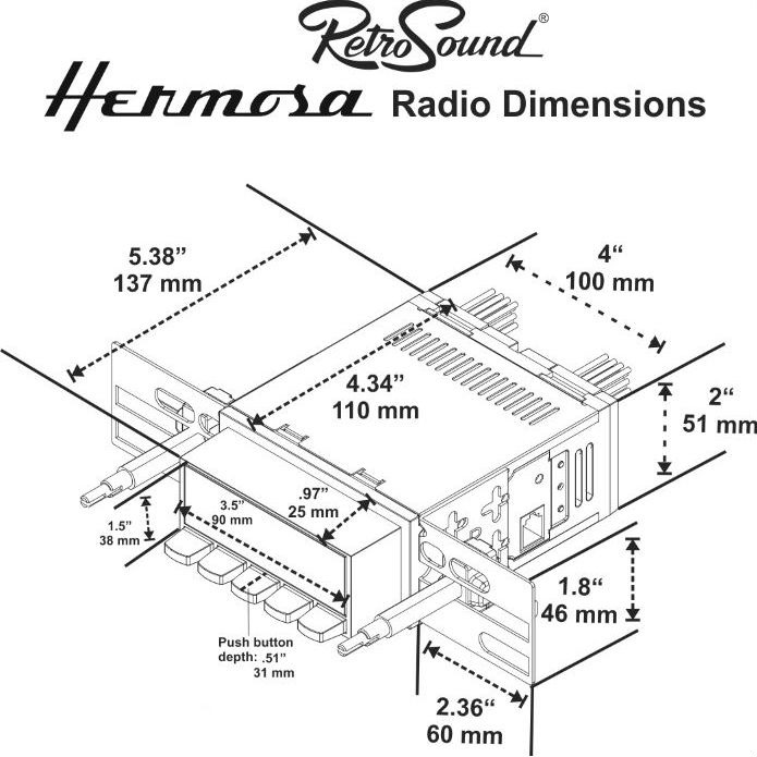 RetroSound HB-113-53-73 Hermosa Radio, 1969 Camaro, Black
