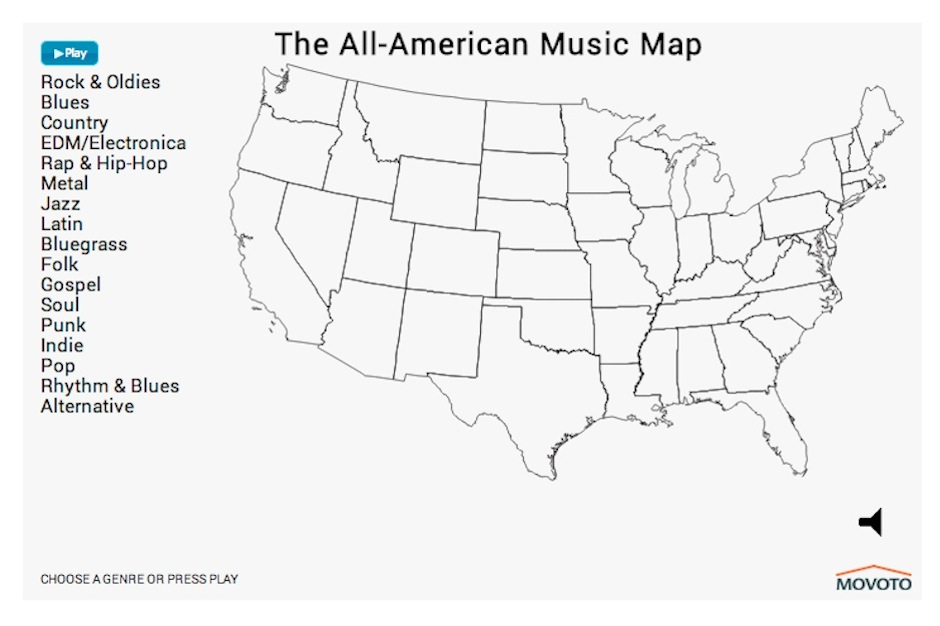 Interactive Map Shows America's Music Preferences by Genre