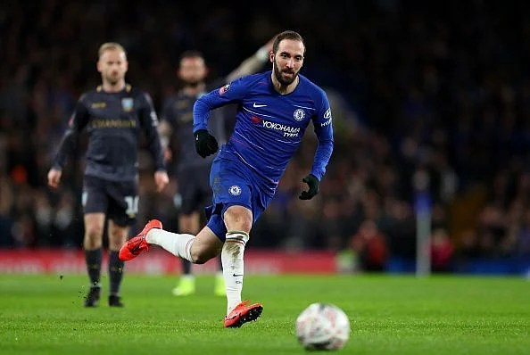 Higuain made his Chelsea debut during their FA Cup win over Sheffield Wednesday on Sunday