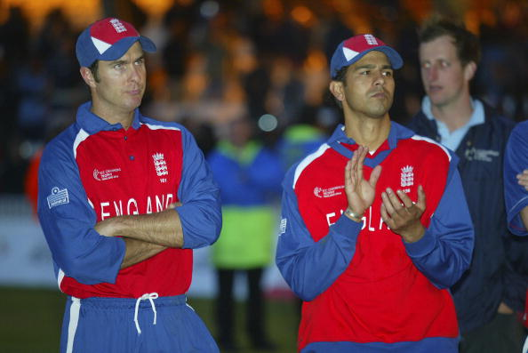 ICC Champions Trophy 2004 Final England v West Indies at the Oval MICHAEL VAUGHAN DEJECTED