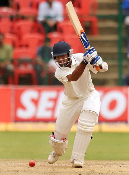 Indian cricketer Cheteshwar Pujara plays