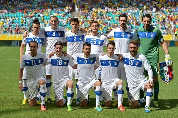 Italy's national football team poses for pictures before the start of their FIFA Confederations Cup Brazil 2013 third-place football match against Uruguay, at the Fonte Nova Arena in Salvador, on June 30, 2013. (Getty Images)