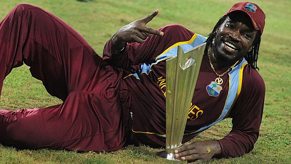 West Indies cricketer Chris Gayle celebrates his team's victory in the ICC Twenty20 Cricket World Cup'West Indies cricketer Chris Gayle celebrates his team's victory in the ICC Twenty20 Cricket World Cup's final match against Sri Lanka