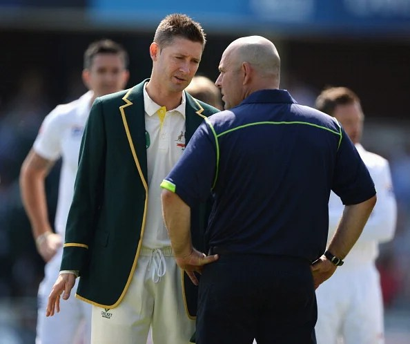Out of ideas: Clarke talks to coach Darren Lehmann prior to day one of the 2nd Investec Ashes Test match between England and Australia at Lord's Cricket Ground on July 18, 2013 in London, England.  (Getty Images)