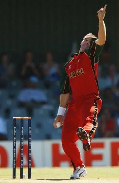 Heath Streak of Zimbabwe bowls