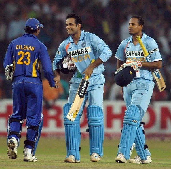 Back from the dead: Sri Lanka's Thillakeratne Dilshan (L) congratulates Irfan Pathan (C) and Yusuf Pathan (R) after  they led India to a win in the only T20I at the R Premadasa in Colombo on February 10, 2009. (Getty Images)