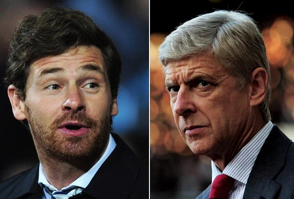 Tottenham Hotspur Manager Andre Villas Boas (L) and Arsenal Manager Arsene Wenger