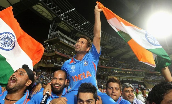 Sachin after winning the World Cup