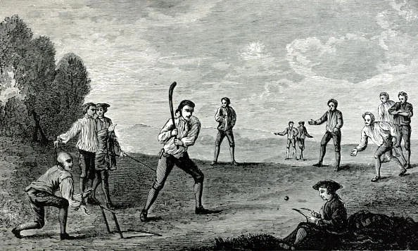 Sport. Cricket. pic: circa 1740. This illustration shows how cricket was played in the 18th century.