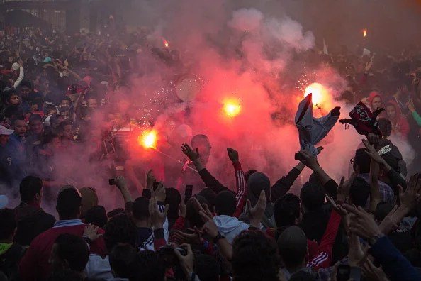Members of the football club Al Ahly also known as the Ultras.