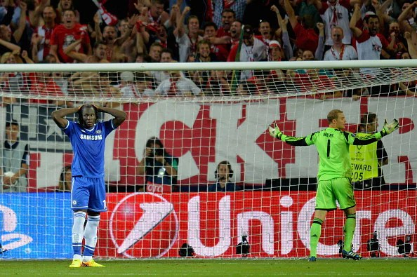 Romelu Lukaku of Chelsea reacts after missing his penalty as Manuel Neuer of Bayern Munich celebrates during the UEFA Super Cup between Bayern Muenchen and Chelsea at Stadion Eden on August 30, 2013 in Prague, Czech Republic.  (Getty Images)