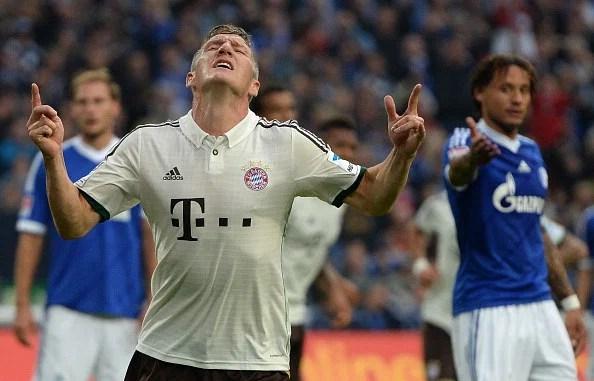 Bastian Schweinsteiger celebrates after scoring during the   match between Schalke 04 vs Bayern Munich on September 21, 2013. (Getty Images)
