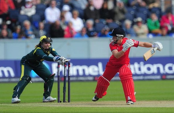 England batsman Heather Knight is stumped by Australia wicketkeeper Jodie Fields during the Women's Ashes Series