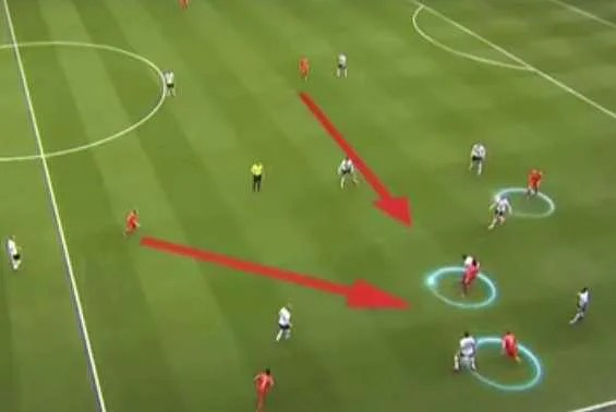 The arrows show how Liverpool players are absorbing Tottenham's wide approach play & are ready to close in and cut any passing lines for the corresponding player, whilst the circles towards the far right of the screen, show how the Reds are attacking Tottenham's defenders  & forcing them to pump a long ball to relieve the danger.