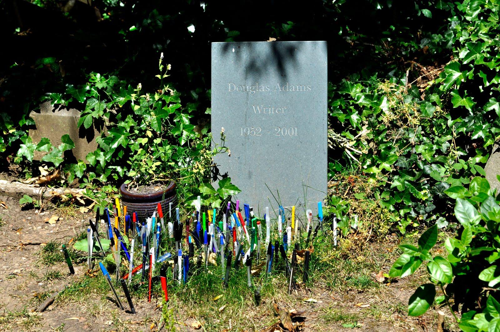 Douglas Adams's grave in London (via London Adventure)