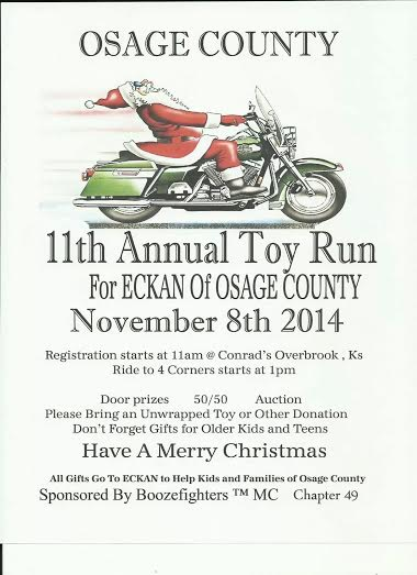 11th Annual Toy Run for ECKAN of Osage County November 8th