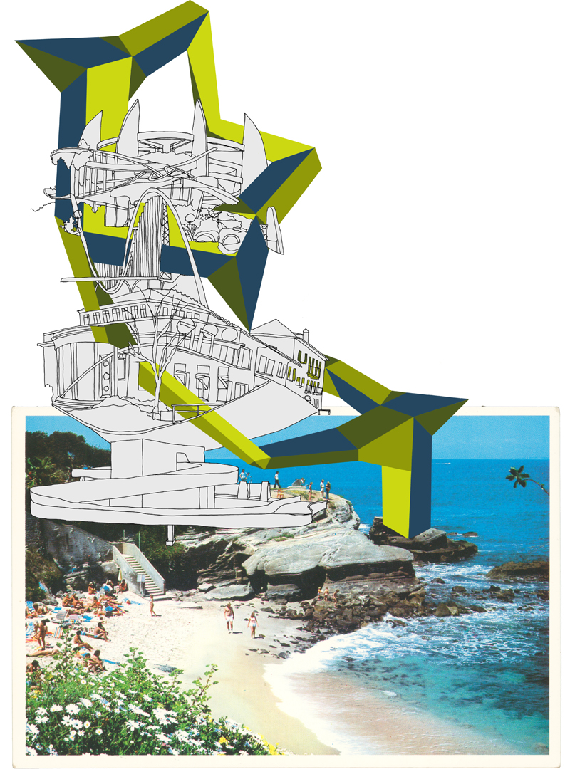 Sight Line Series: LaJolla, Ca. 2  , 2013, Postcard with drawing and cut paper, 45 x 32.7 cm