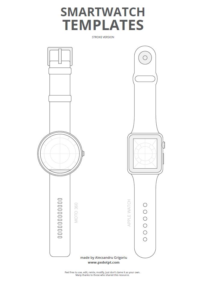 Freebie #2: Smartwatch templates — Pixels, dots and points