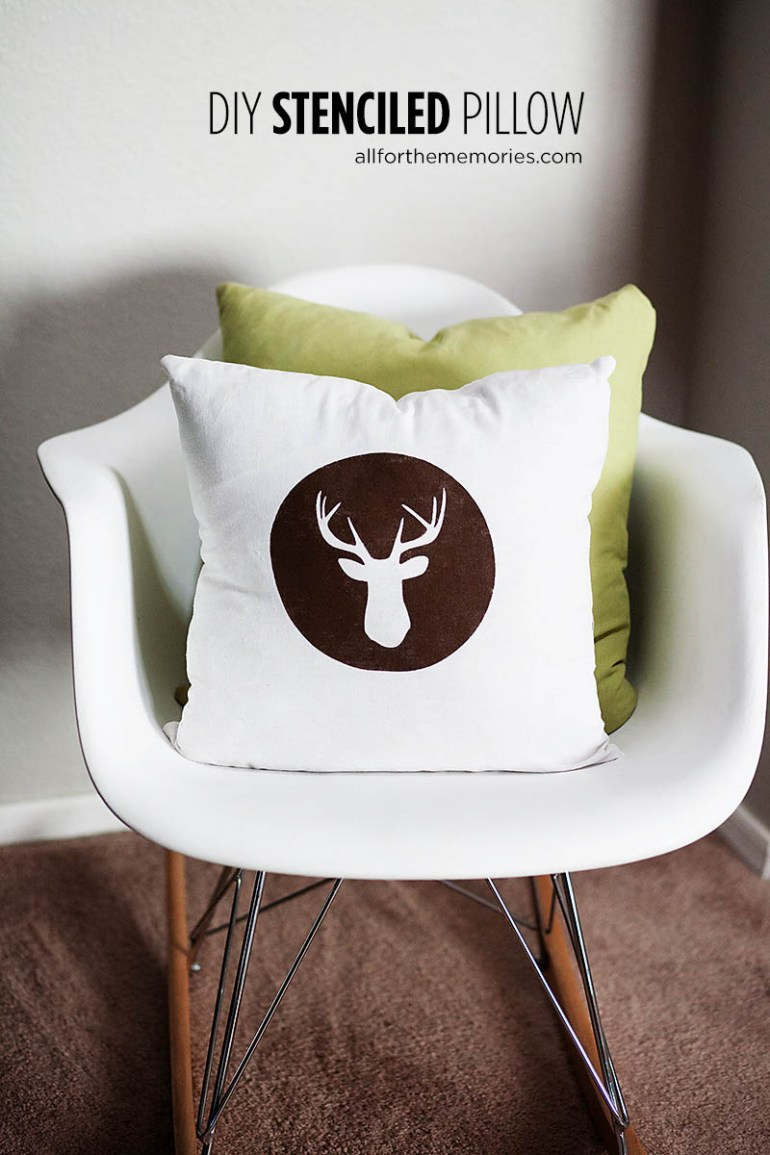 Easy DIY stenciled pillow from All for the Memories