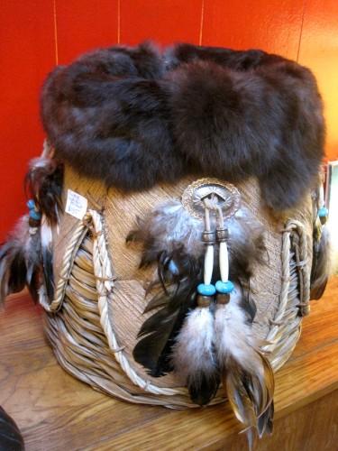 Spirit Animal Native American Basket Made Of Rabbit Fur