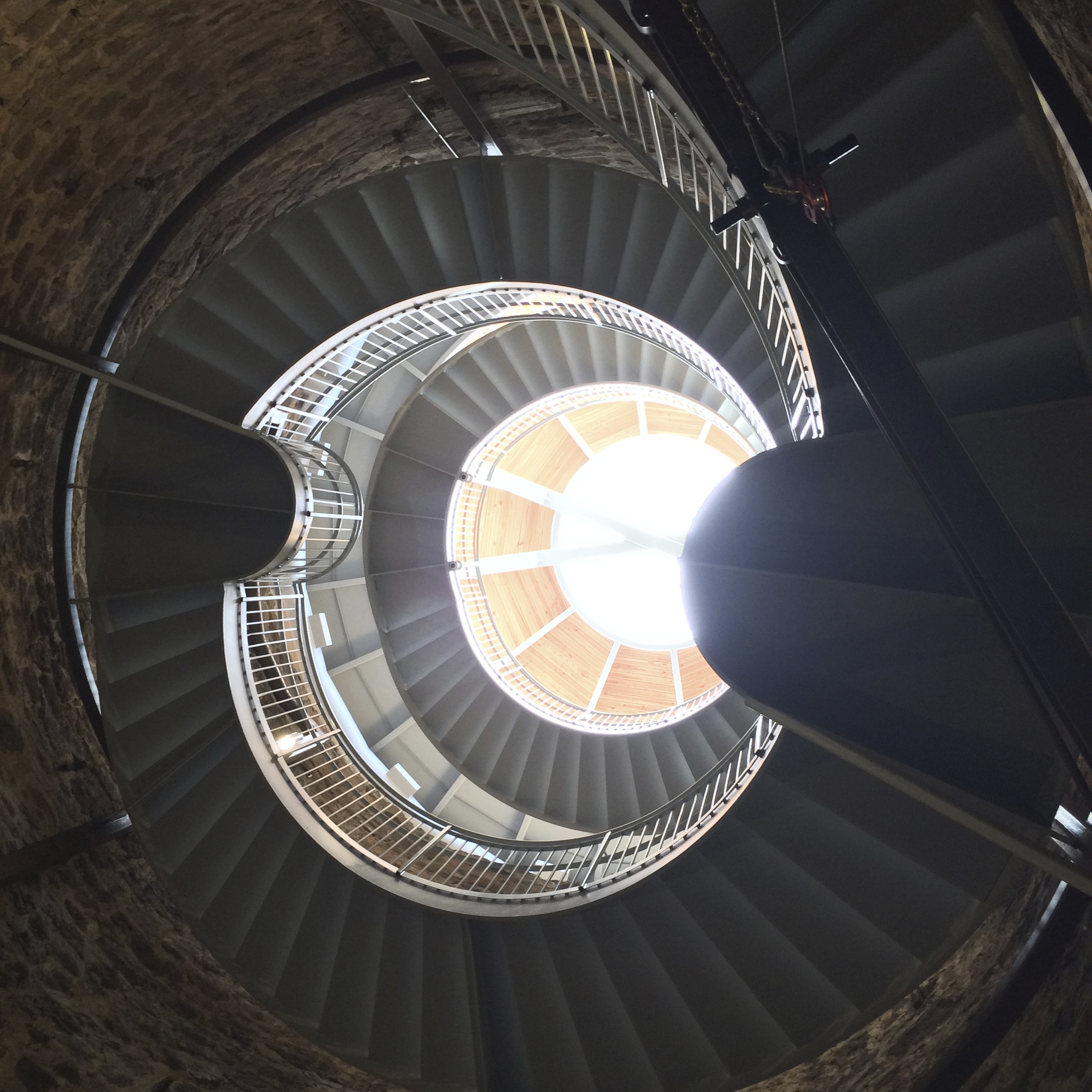This photo was taken from the bottom of the well – as far as you can go down the spiral staircase – and then looking up. It's an absolutely beautifully designed building – and you feel the coolness envelop you as you descend, and the warmth return as you climb the staircase toward the light.