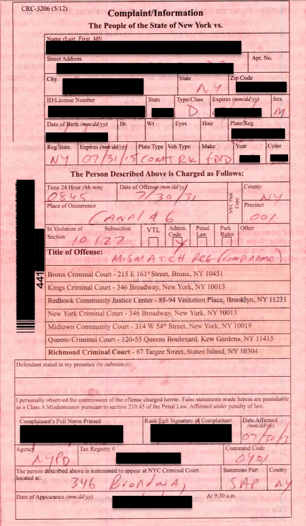 Pink Summons Information for New York City Pink Summons Cases