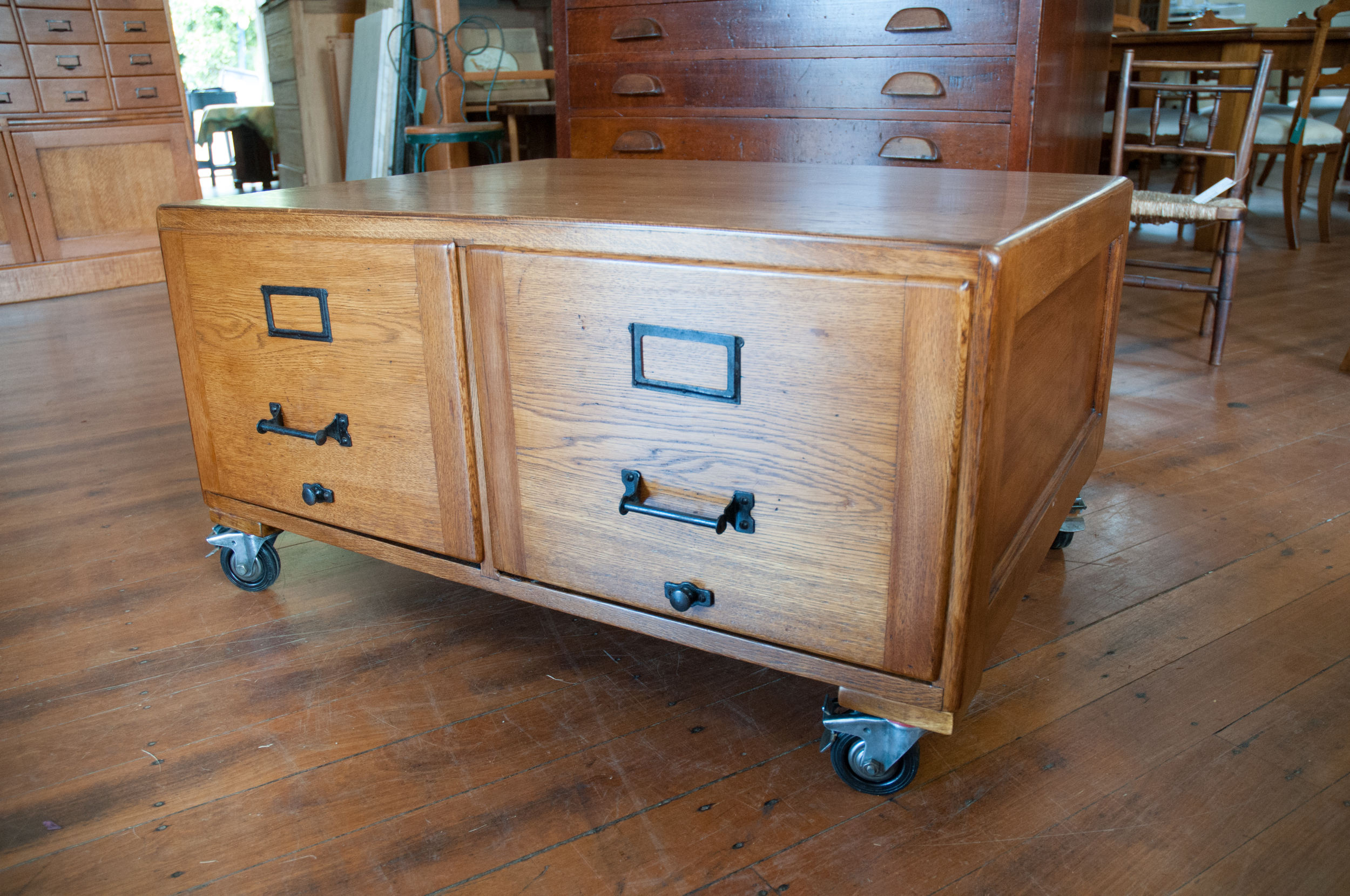 Oak Filing Cabinet Coffee Table  Antiques