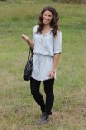 Dress Shirt with Leggings and Boots