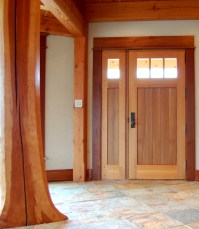 "Crafted of Western Red Cedar, this entry door is 3"" thick ..."