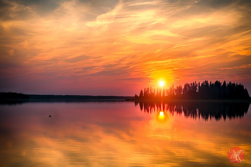 elk island sunset - landscape