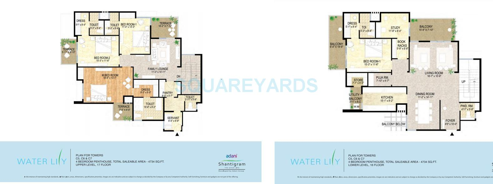 hight resolution of 4 bhk penthouse in adani shantigram water lily