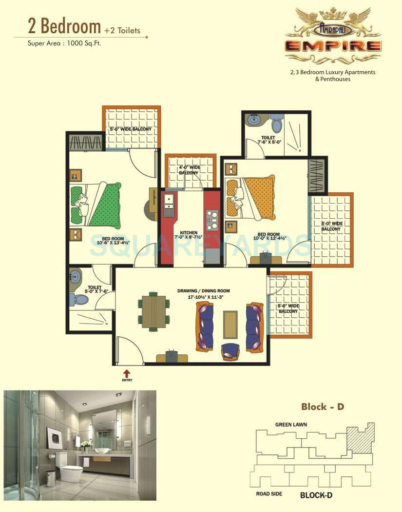 2bhk Floor Plan In 1000 Sq Ft  Home Plan