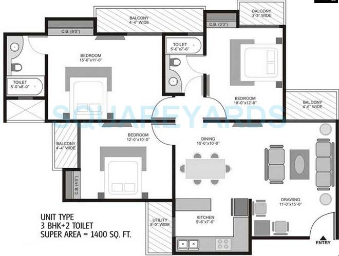 3 BHK 1400 Sq Ft Apartment for Sale in Homes 121 at Rs
