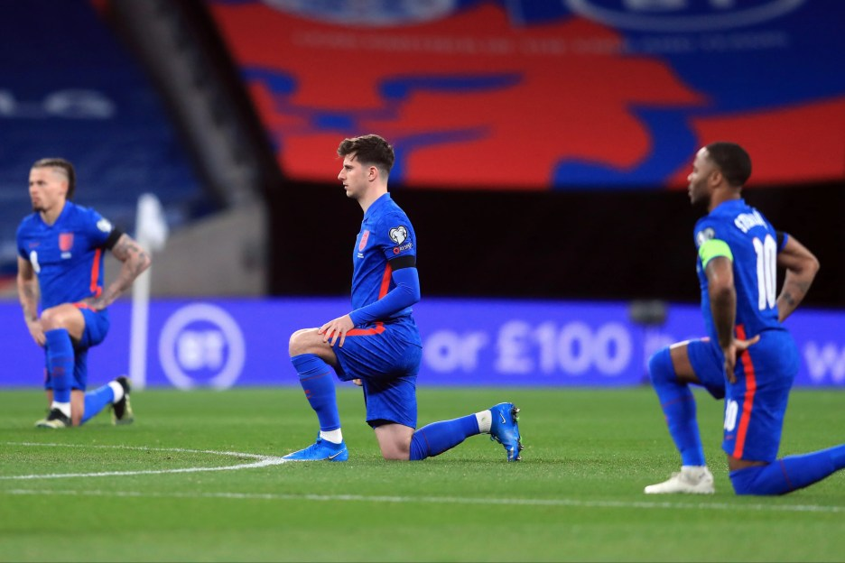 English footballers take the knee before a World Cup qualifier match against San Marino