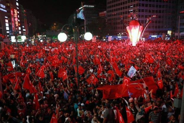Protest: Kizilay Square in Ankara after the coup attempt