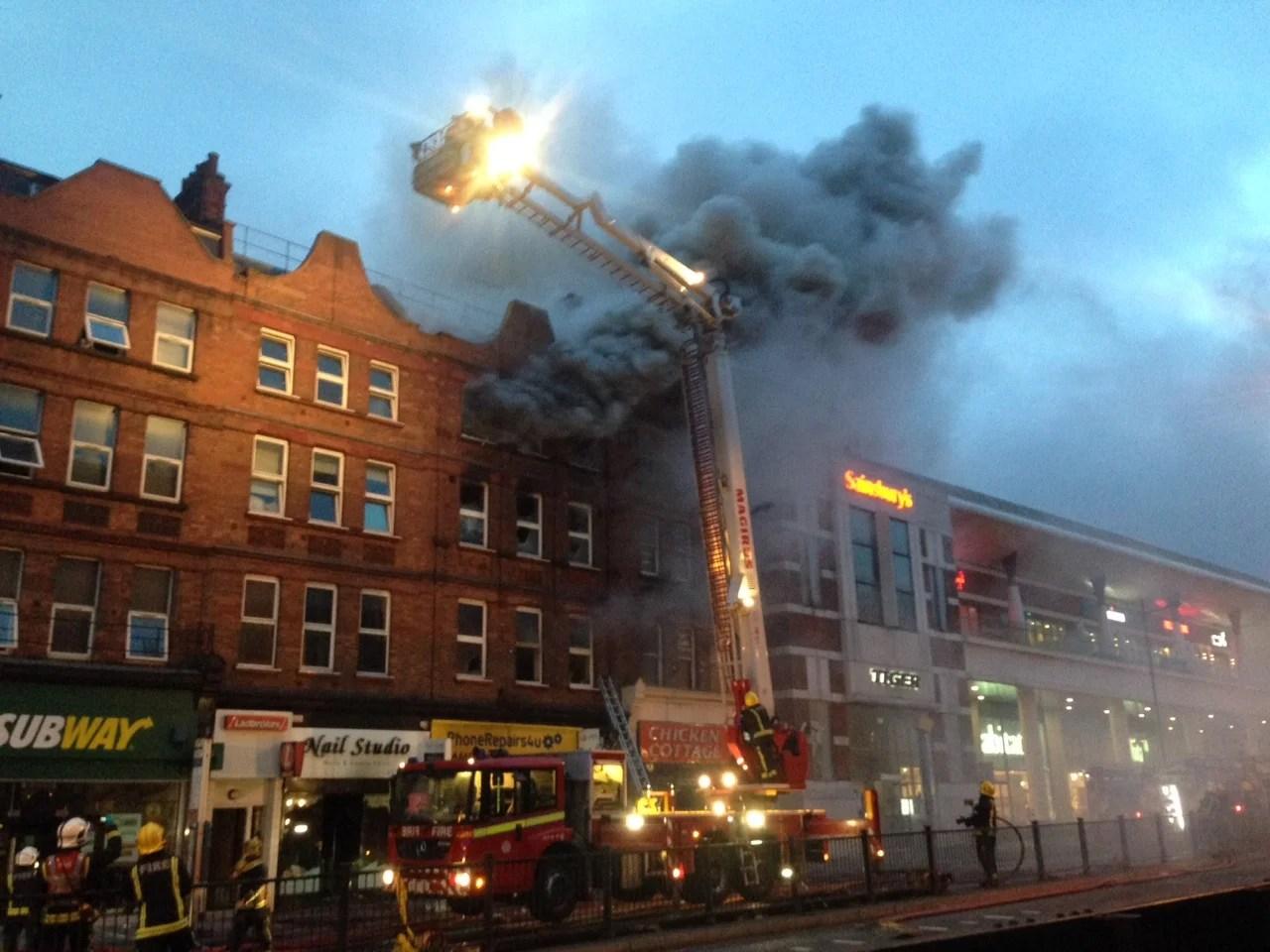 Finchley Road fire Dozens of firefighters battle blaze
