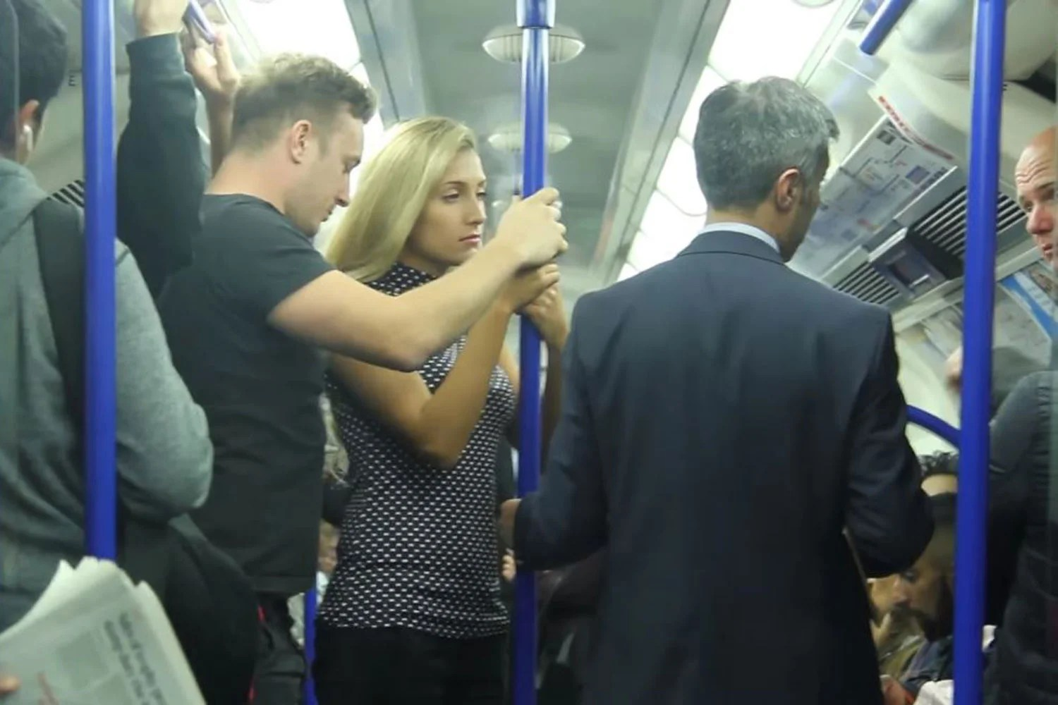 Commuters react in fury to stupid Tube grope prank