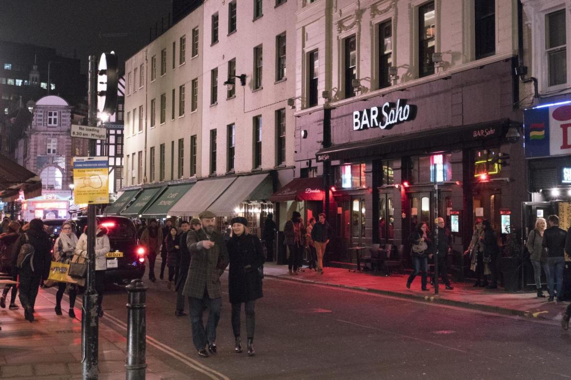 The streets of Soho are bustling with activity every night of the week