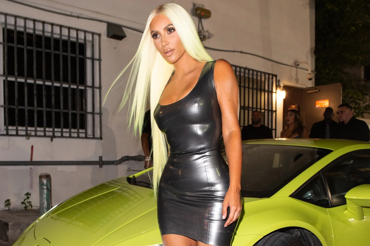 Kim Kardashian matches her hair to her green Lamborghini on night out in Miami  London Evening