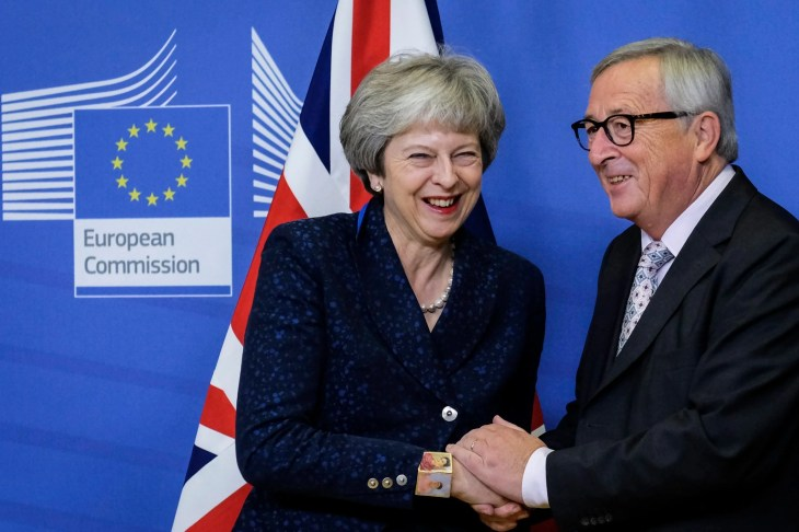 Evening Standard Theresa May is welcomed by European commission President Jean-Claude