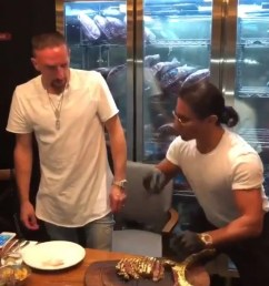 franck ribery in four letter blast at critics as he eats gold encrusted salt bae steak [ 1500 x 1000 Pixel ]