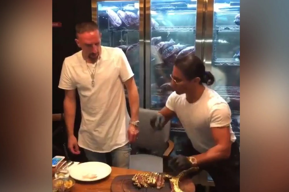 medium resolution of franck ribery in four letter blast at critics as he eats gold encrusted salt bae steak