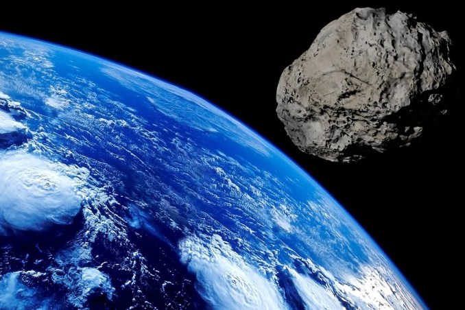 A giant asteroid similar to this artist's impression is due to zoom above our planet at thousands of miles per hour