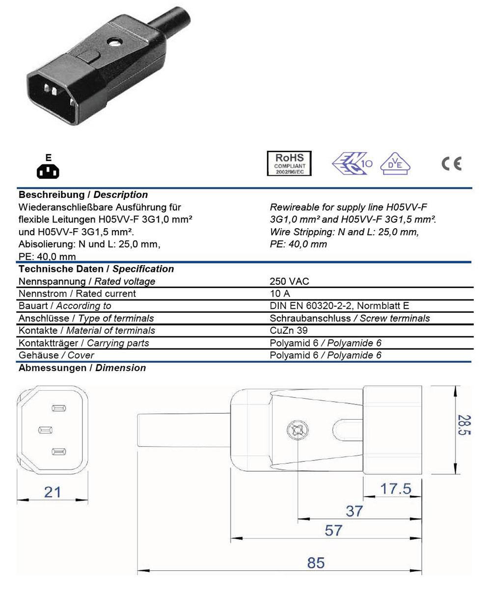 medium resolution of ac plug iec 60320 c14 10 amp male straight entry vde