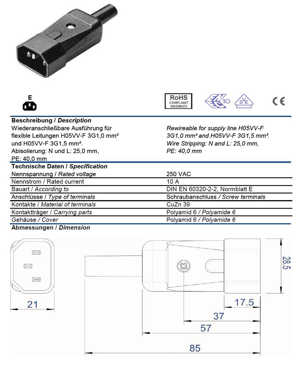 hight resolution of ac plug iec 60320 c14 10 amp male straight entry vde