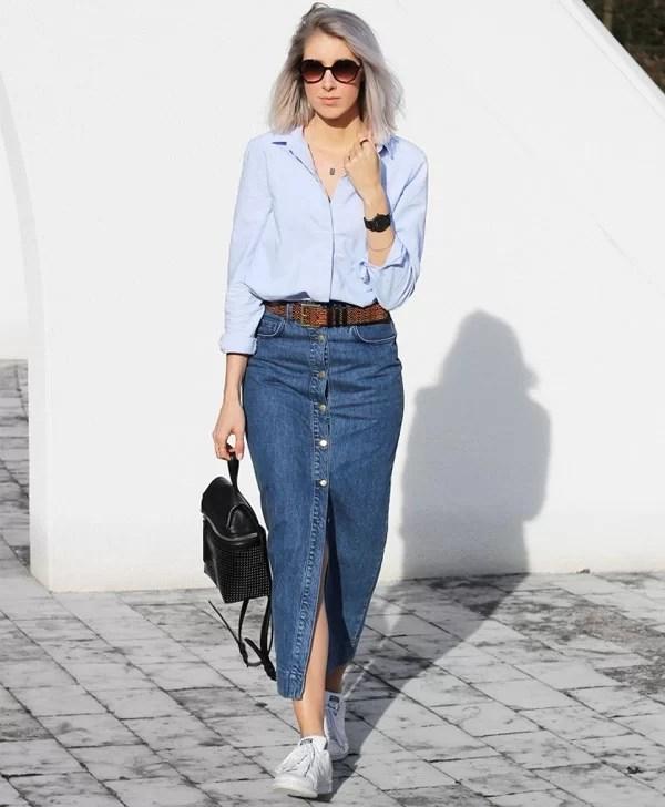 Resultado de imagem para look com saia jeans midi
