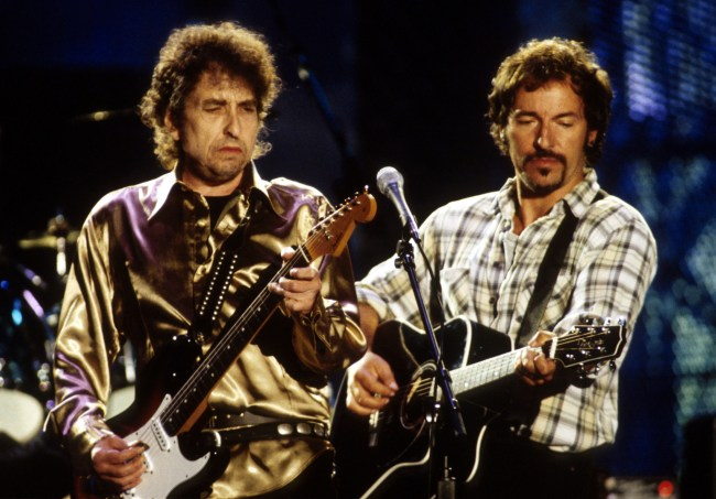 Bob Dylan and Bruce Springsteen during Bob Dylan File Photos at New York in New York City, New York, United States. (Photo by KMazur/WireImage)