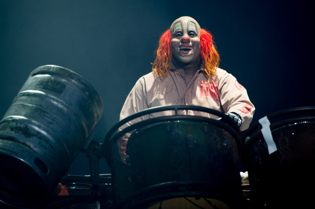 DONNINGTON, UNITED KINGDOM - JUNE 14: Shawn Crahan of Slipknot performs headling Day 1 of The Download Festival at Donnington Park on June 14, 2013 in Donnington, England. (Photo by Ollie Millington/WireImage)